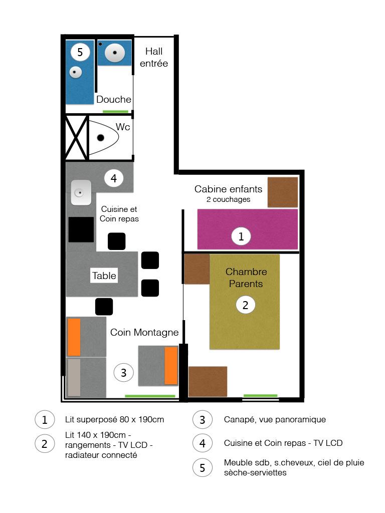 plan de l'appartement 4 couchages